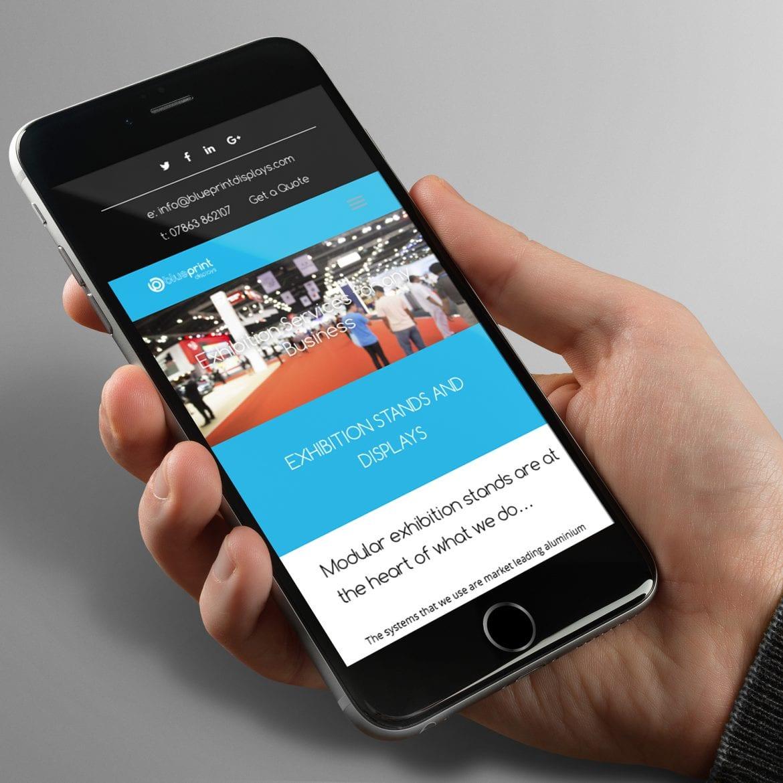 blueprint displays website on a mobile