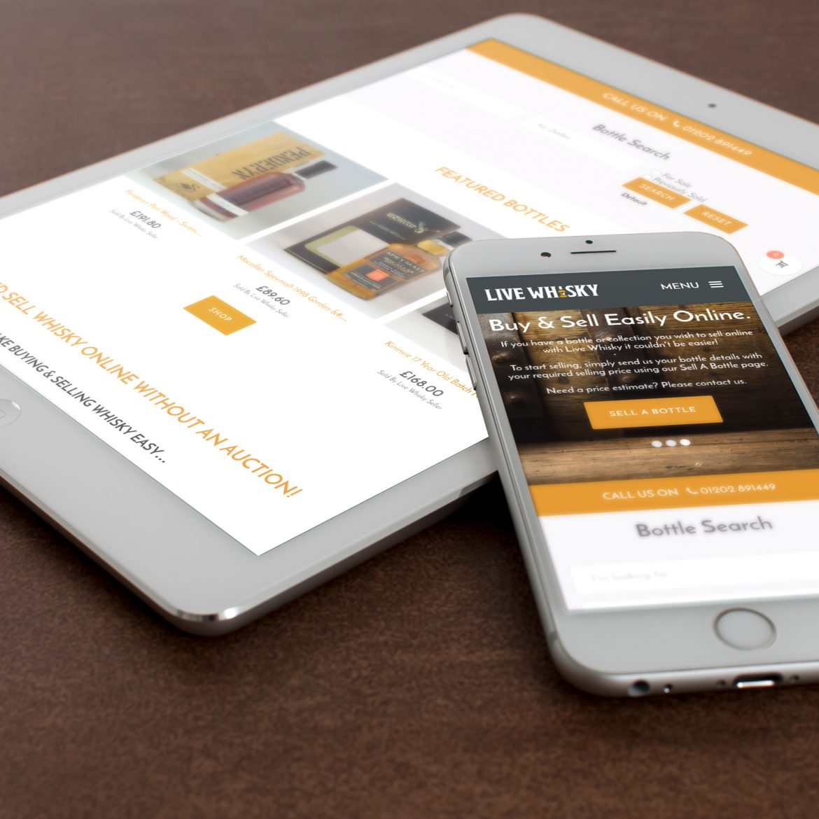 live whisky responsive website on a phone and tablet