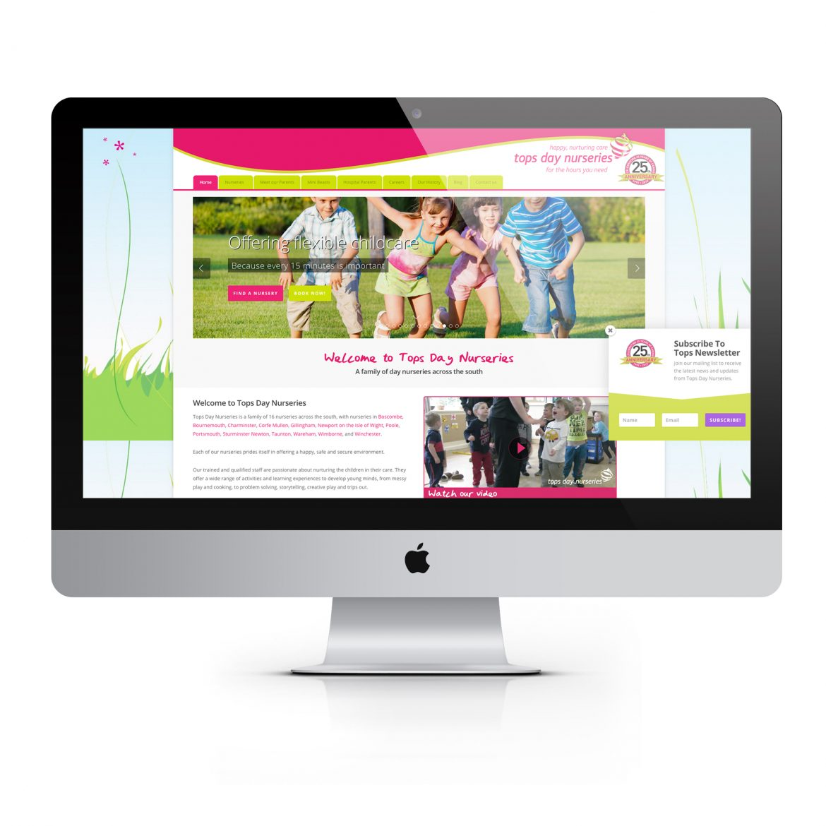 tops day nursery website on a Mac against a white background
