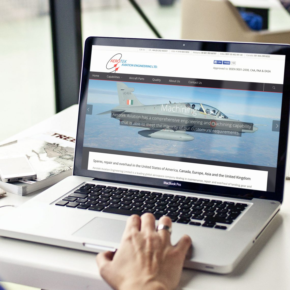 person browsing Aerotek Aviation website