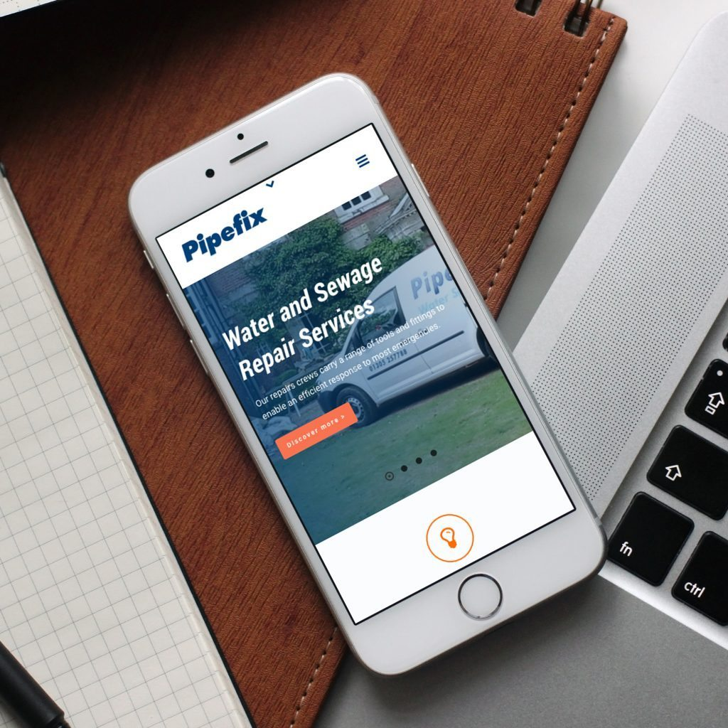pipefix mobile responsive website on an iPhone