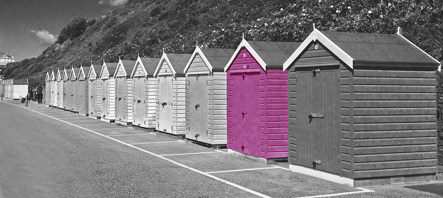 Beach huts near Digital Agency Bournemouth