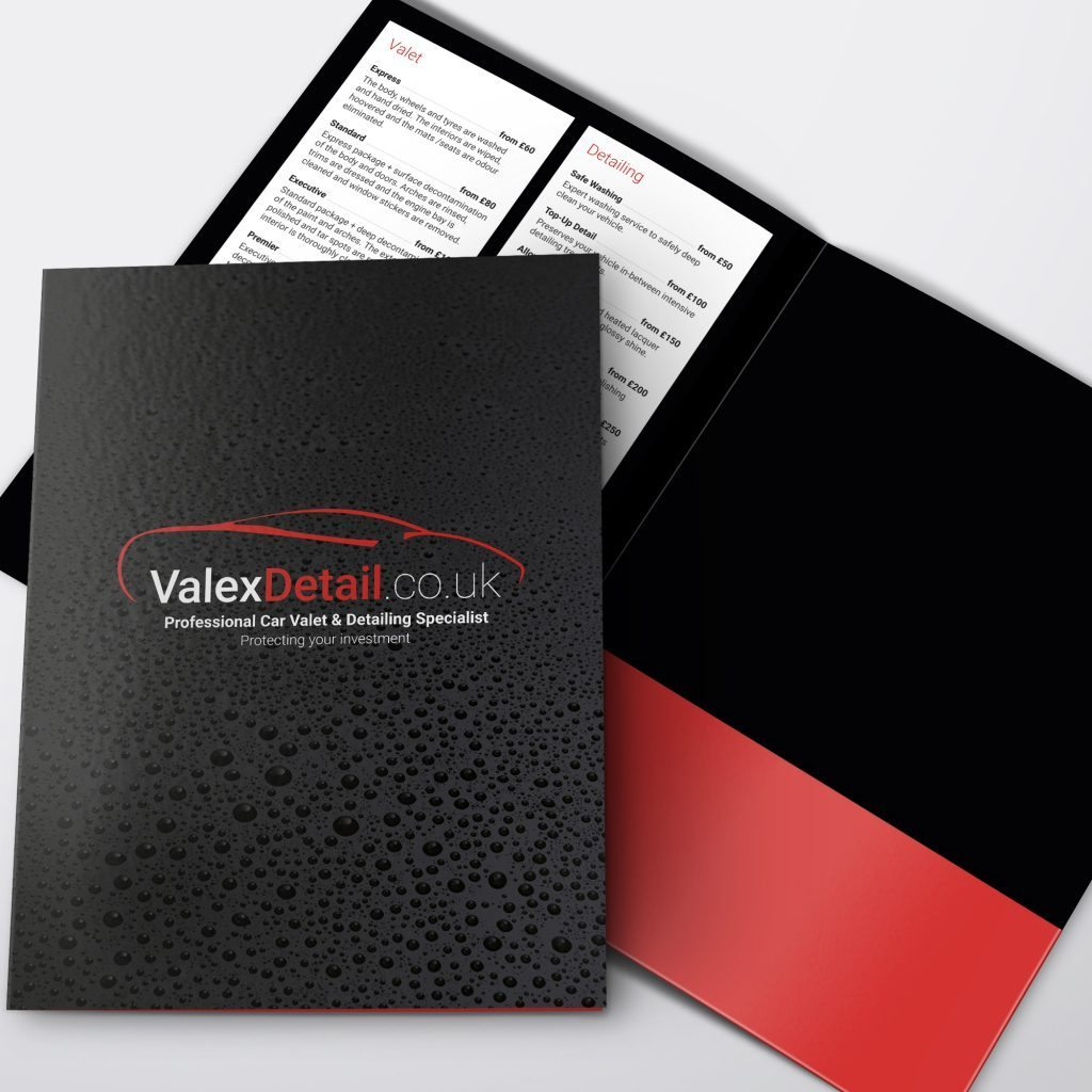 valex detail folder design with pricing structure