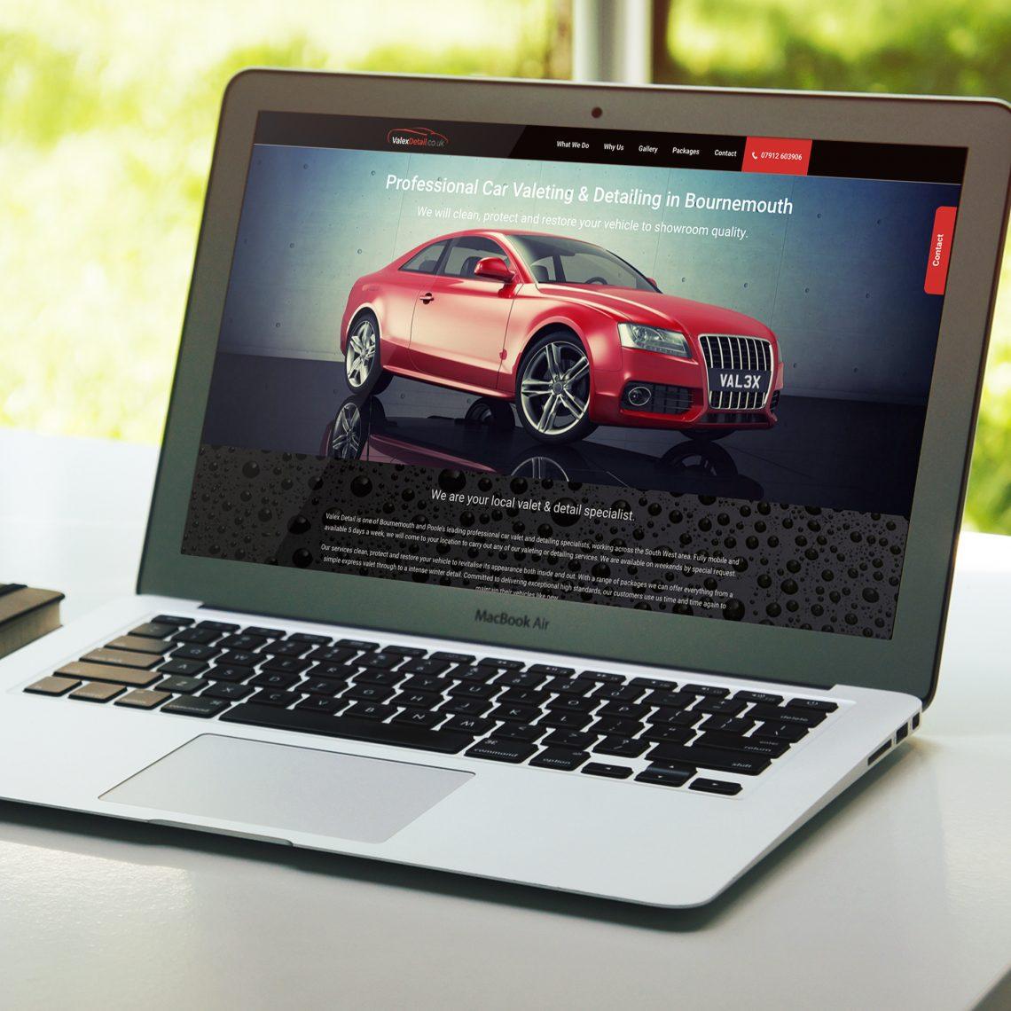 valex detail website on a MacBook