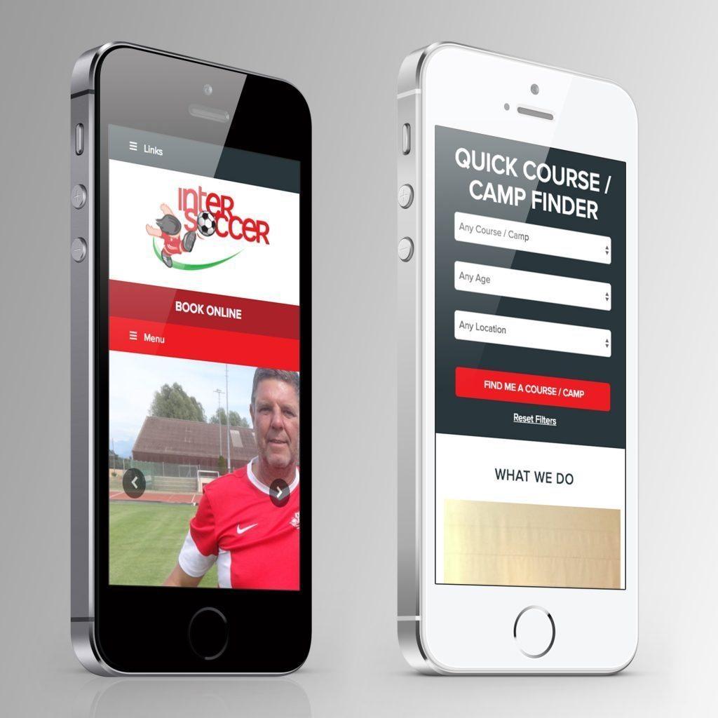 intersoccer website on 2 iPhones