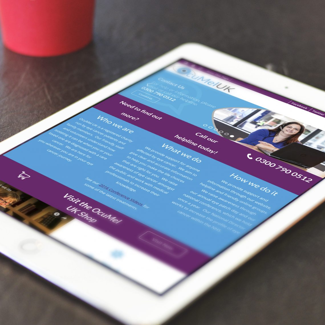 Ocumel contact page on a tablet