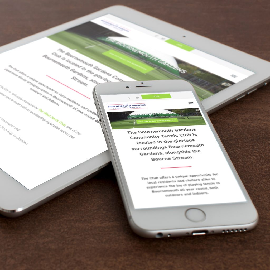 Tennis Associations website on an iPhone and an iPad