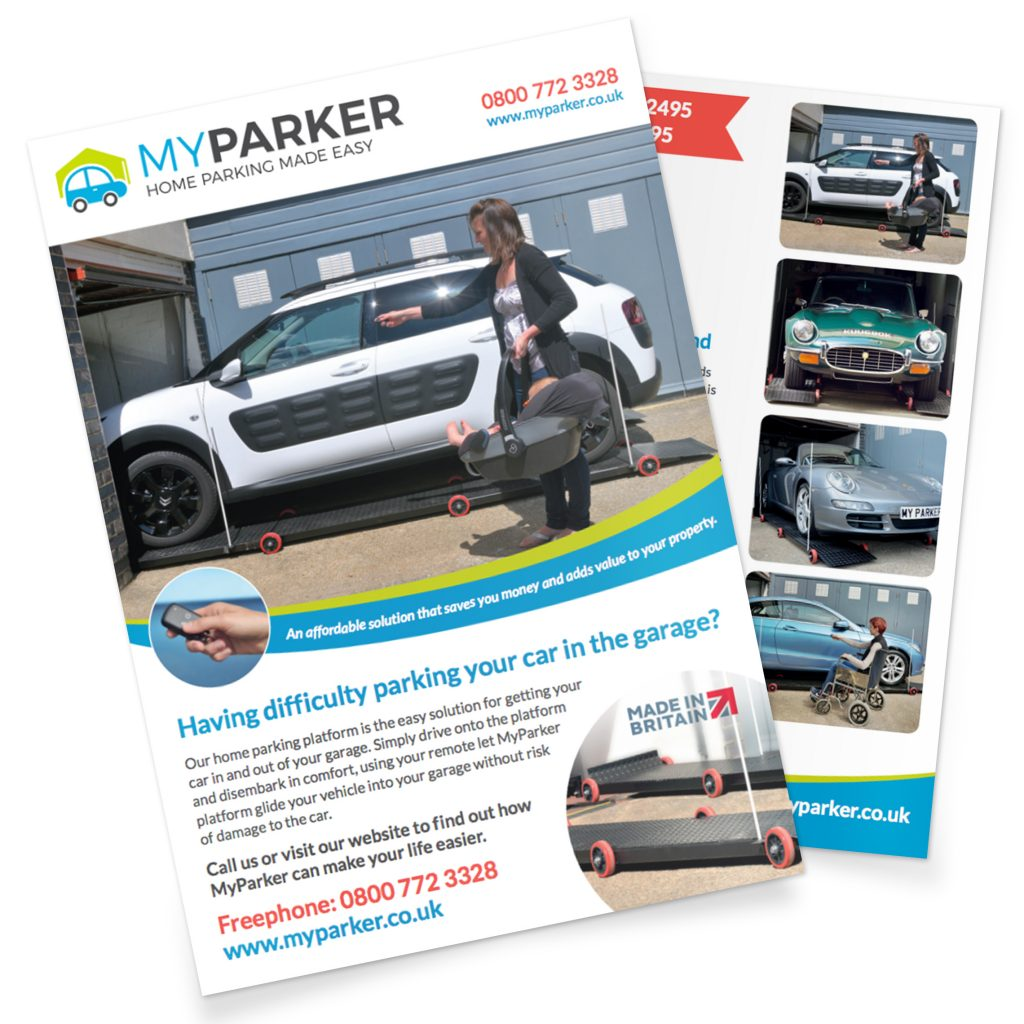 My Parker brochure front cover with a car