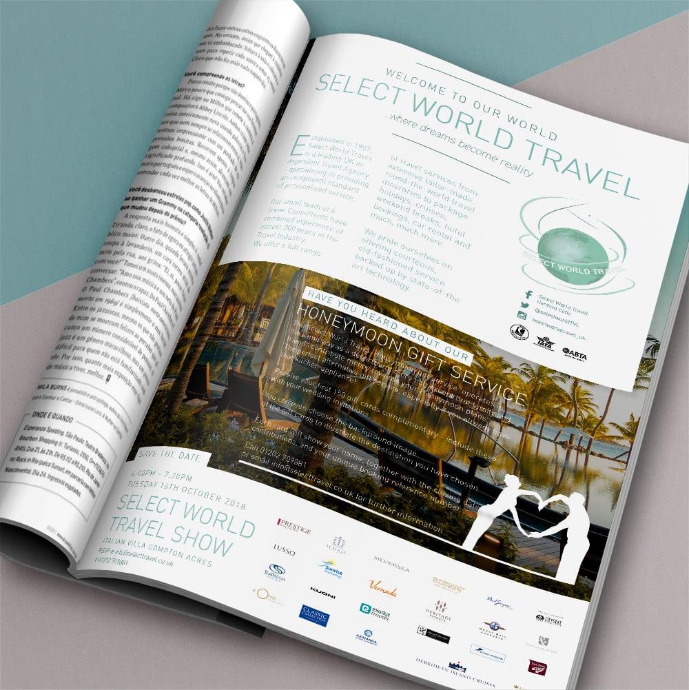 Select World Travel Magazine Advert Design